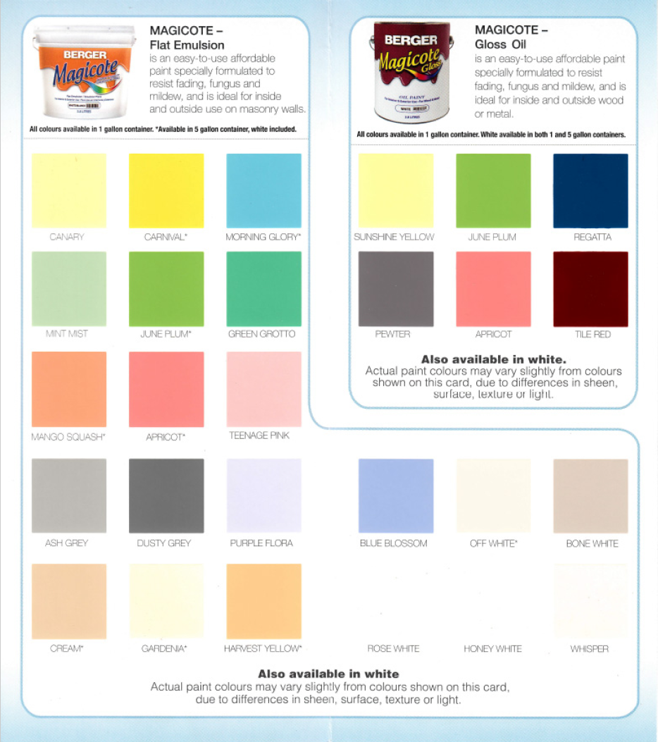 Berger Paints Interior: Berger Paints Jamaica Color Chart