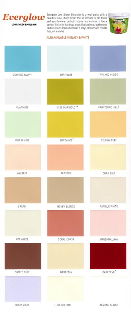 Berger Low Sheen Paint Chart Product Detail Ayucar